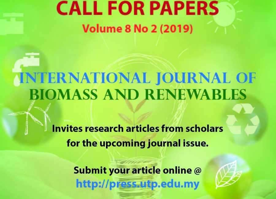 Call for Papers : International Journal of Biomass & Renewables